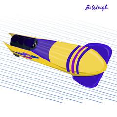Winter sport. Bobsleigh.  Vector illustration