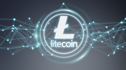 Litecoins cryptocurrency background 3D rendering