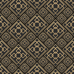Seamless pattern in Art Deco style. Black and golden tilework. 3d effect ceramic tiles. Luxury background.
