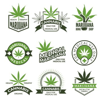 Medical badges or labels set. Monochrome illustrations of canabis and marijuana