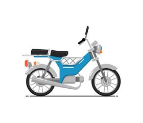 Old style motorbike isolated on white icon