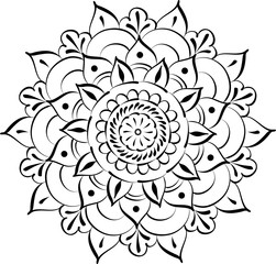 Drawing of floral round lace mandala