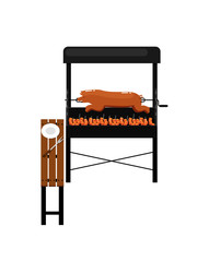 Barbecue grill with grilled pork icon