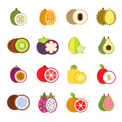 Guava, mango and others illustrations of tropical fruits in flat style