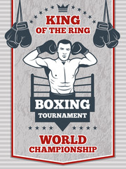 Vintage poster for boxing or sport club. Fitness center illustration