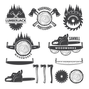 Monochrome labels set with lumberjack and pictures for wood industry