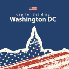 Vector travel illustration or banner Capitol Building in Washington DC with american flag in grunge style