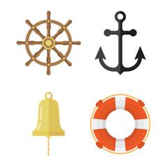 Nautical icons set. Lifebuoy, anchor, steering wheel, ship bell.