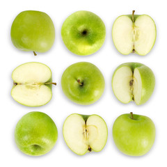 Green apple collection isolated on white background with clipping part