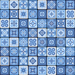 Blue Portuguese Ceramic Mosaic Tile Floral Seamless Pattern. Vector