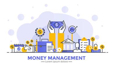 Flat Line Modern Concept Illustration - Money Management