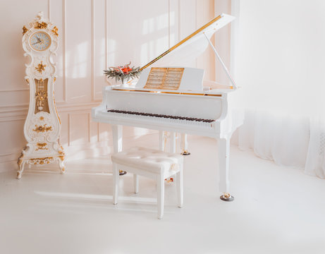 white grand piano standing in elegant interior
