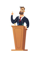 The peasant man speaking from the rostrum. Businessman or speaker speech. Rector in the classroom