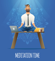 Yoga at job. Businessman relaxing in lotus position on table with computer at the desk. Cartoon style man meditation in office.