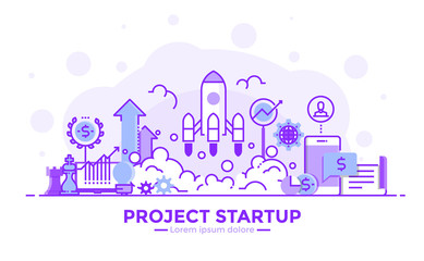 Flat Line Purple color Modern Concept Illustration - Project Startup