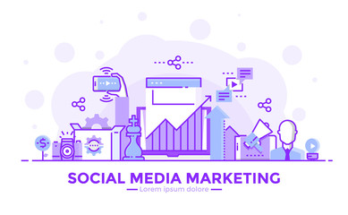 Flat Line Purple color Modern Concept Illustration - Social Media marketing