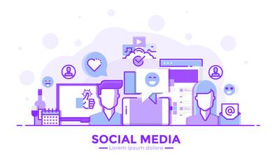 Flat Line Purple color Modern Concept Illustration - Social Media