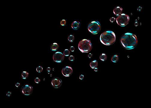 Bubbles on black background