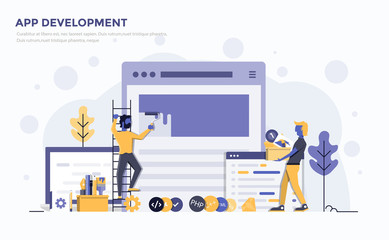Flat Modern Concept Illustration - App development