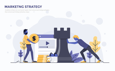 Flat Modern Concept Illustration - Marketing Strategy