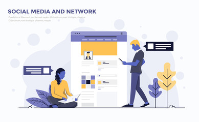 Flat Modern Concept Illustration - Social Media