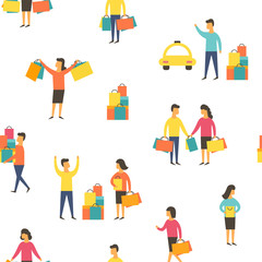 Shopping people with bags. Vector illustration