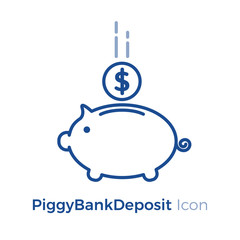 PiggyBank with falling coin. Vector icon design. Safety money investment deposit