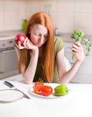 Skinny girl refusing food