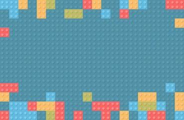 Plastic construction block background. Children toy building block bricks.