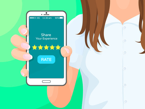 Share Your Experience Phone Vector Illustration
