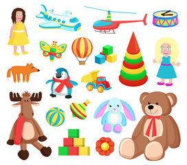 Playthings at Factory Set Vector Illustration