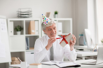Grey-haired employee sitting by his workplace and going to untie red ribbon on top of box with birthday present