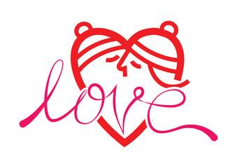 happy valentine day. love kissing symbol