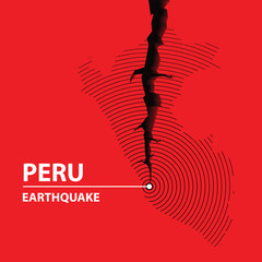 Peru Earthquake concept on cracked map