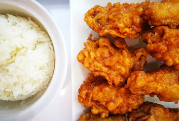 Top View Of Korean Style Deep Fried Chicken Crispy With Rice On Plate