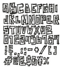 Thin Pen Doodle Block Bold Vector Font with Uppercase Letters, Numbers & Signs