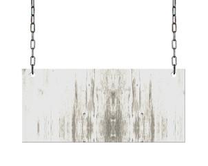 ein altes leeres Holzschild hängt an Metall Ketten in weiß