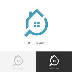 Home search logo - house with window and chimney and loupe or magnifier symbol. Estate agency, realty and real property vector icon.