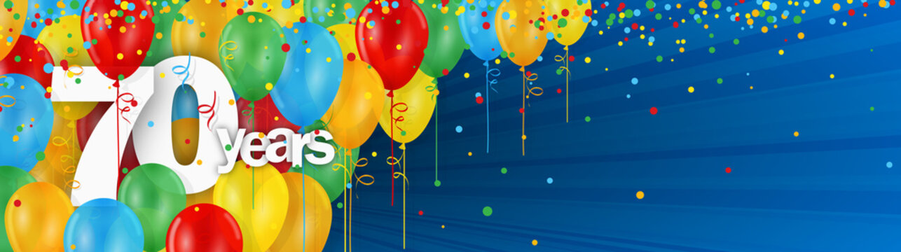 70 YEARS - HAPPY BIRTHDAY/ANNIVERSARY BANNER WITH COLOURFUL BALLOONS