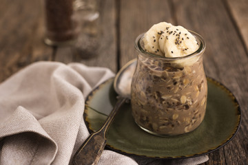 Overnight oats with chia seeds and banana