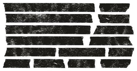 Masking Tape Black Grunge Set 01 Wall mural
