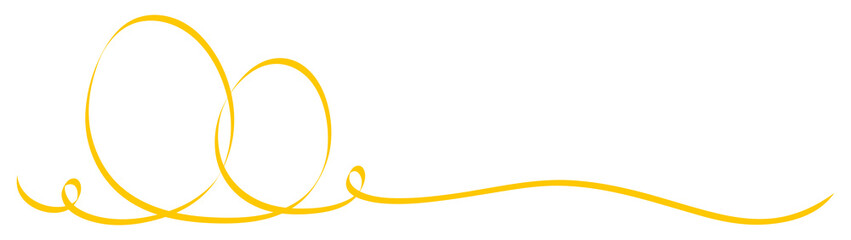 2 Connected Calligraphy Yellow Easter Eggs Ribbon