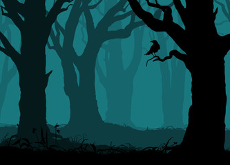silhouette of the night forest with old trees and crow on the branch, vector illustration
