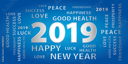 2019 happy new year greetings vector banner blue and silver