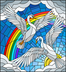 Illustration in stained glass style with a pair of Swans on the background of sky, sun , clouds and rainbow