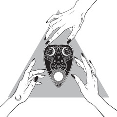 Hands of three witches reaching out to the ouija mystifying oracle planchette. Black work, tattoo, poster art or print design hand drawn vector illustration