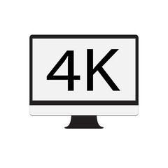 computer monitor 4K on white background. computer monitor 4K icon. flat style. display 4K sign.
