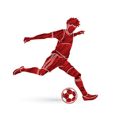 Soccer player running and kicking a ball action designed using grunge brush graphic vector