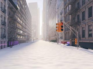 blizzard in new york city. 3d rendering