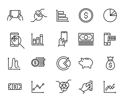 Simple collection of personal budget related line icons.